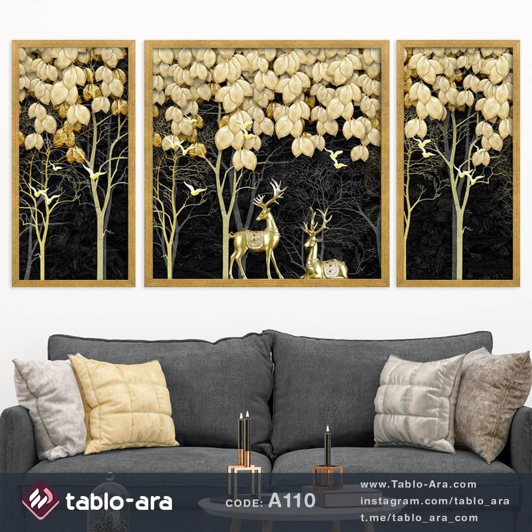 تصویر تابلو 3 تیکه کد A110 گوزن های طلایی