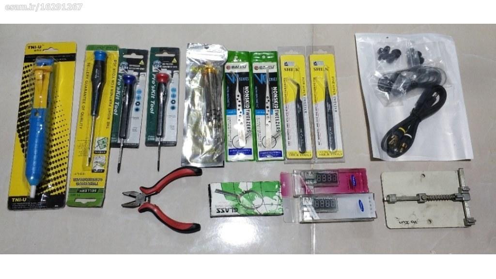 تعدادی ابزار تعمیرات موبایل | پیچ گوشتی، پنس، انبر، گیره و ...