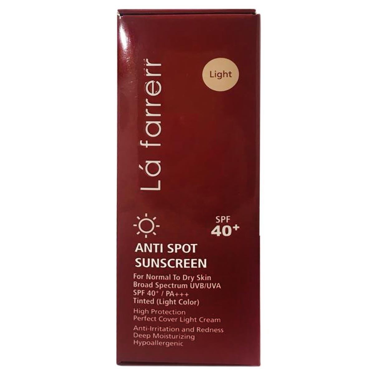 تصویر کرم ضد آفتاب و ضد لک پوست خشک لافارر spf40 La Farrerr