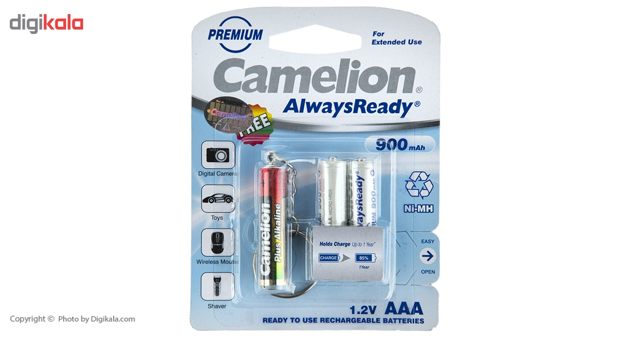 img باتري نيم قلمي قابل شارژ کمليون مدل Always Ready بسته 2 عددي بهمراه چراغ قوه LED Camelion Rechargeable Always Ready AAA Battery Pack Of 2 With Torch