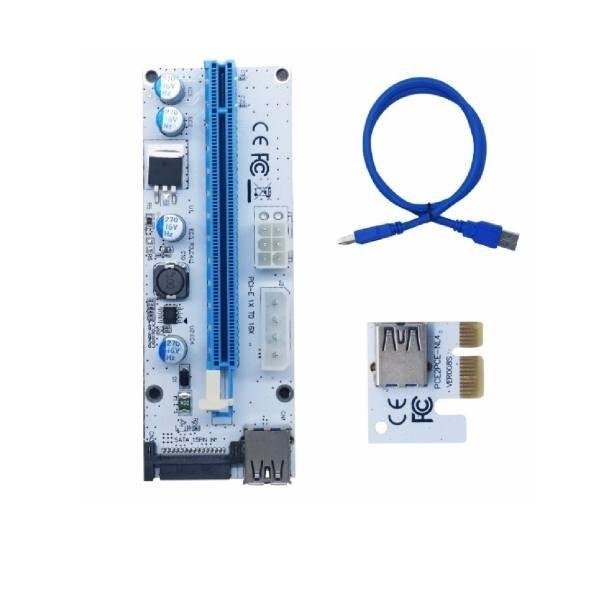 تصویر رایزر کارت گرافیک مخصوص ماینینگ تبدیل پورت PCI 1X به 16X مدل 008s