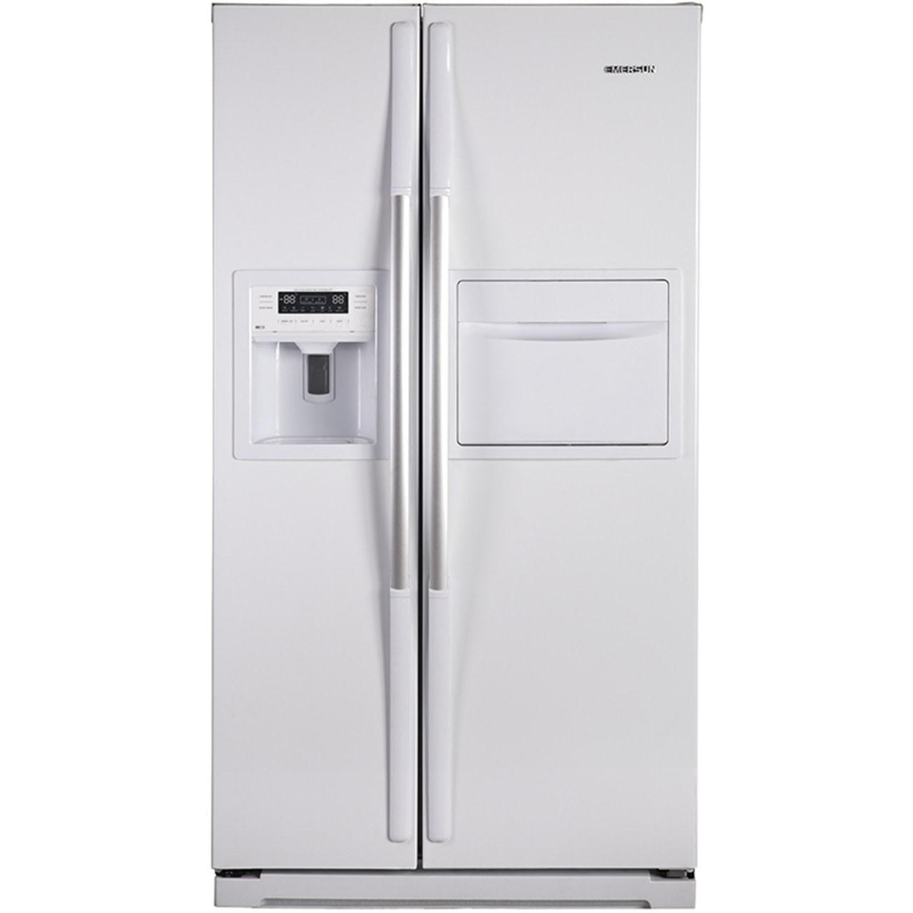 تصویر یخچال فریزر ساید بای ساید 32فوت امرسان ابسردکن دار و بار سفید مدل NRF3292D Emersun NRF3292D Refrigerator