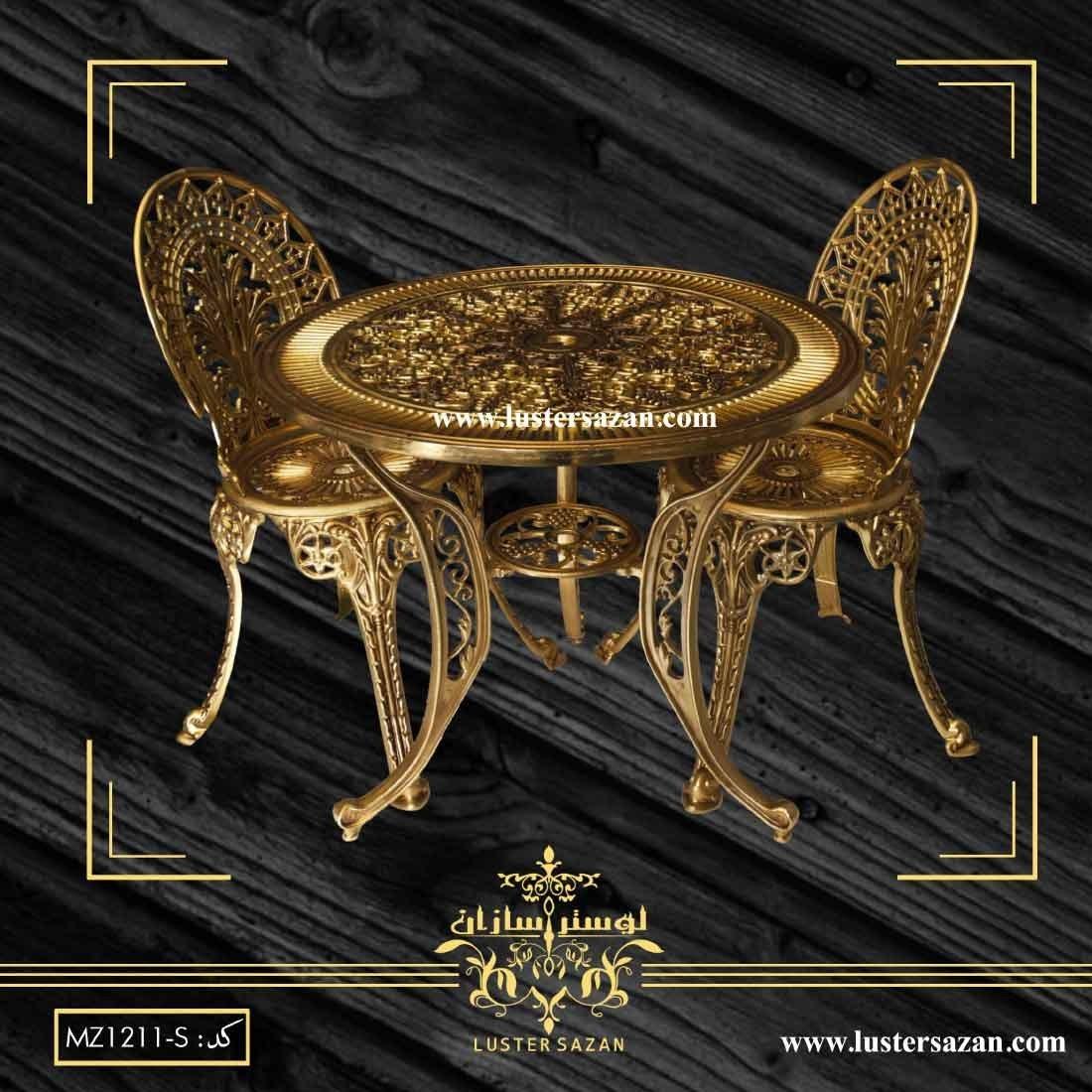 میز و صندلی آبنوس – طلا قهوه ای قلم لوسترسازان |
