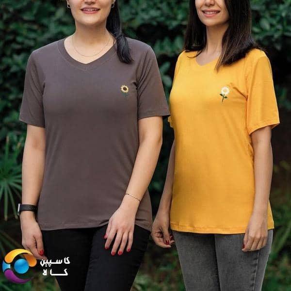 تصویر تیشرت زنانه طرح گل آفتابگردان ا Women's t-shirt with sunflower design Women's t-shirt with sunflower design