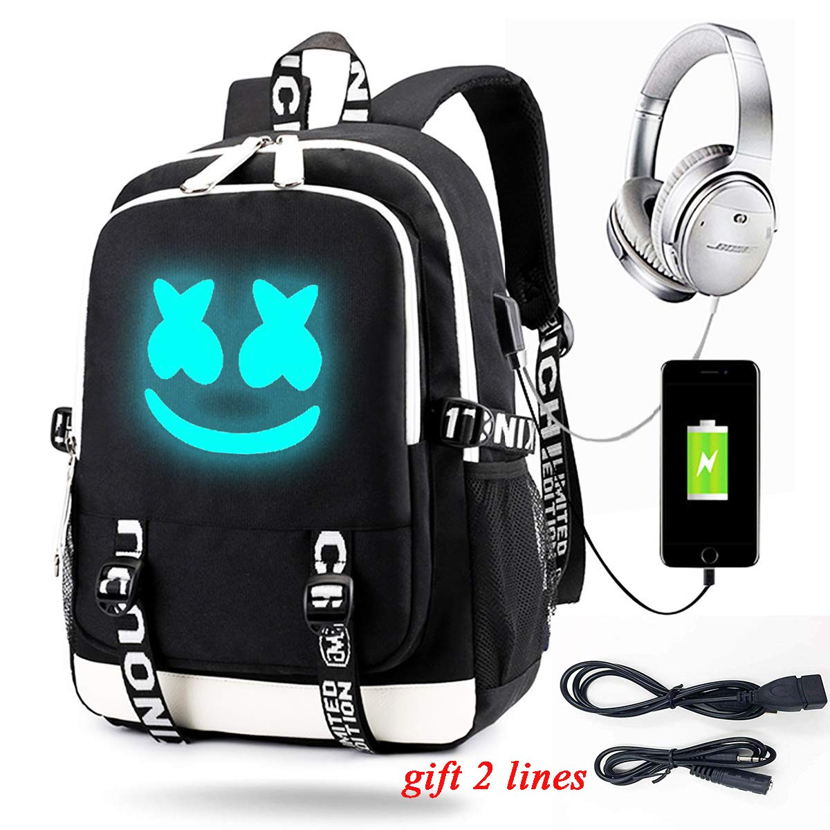 Luminous Backpack with USB Charging Port Fashion Travel Laptop Daypack Unisex Bookbag Student School Bag Rucksack