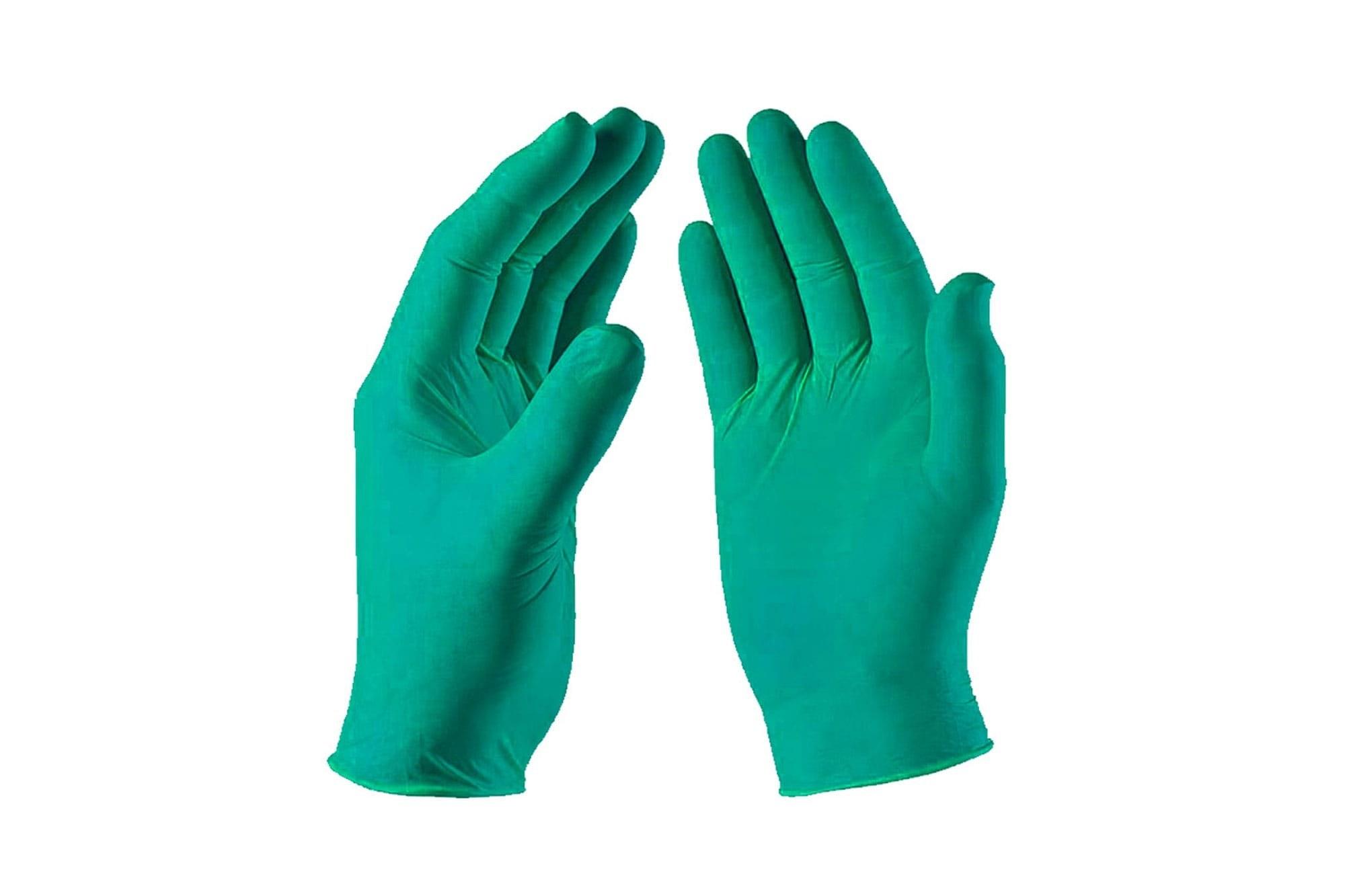تصویر دستکش نیتریل NITEX سبز رنگ بسته ۱۰ تایی