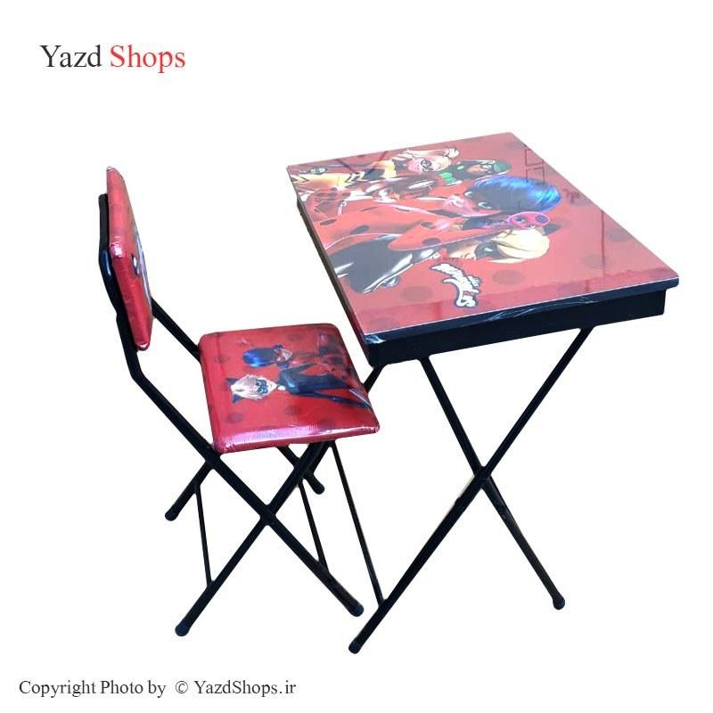 تصویر میز و صندلی تحریر تاشو طرح دختر کفشدوزکی