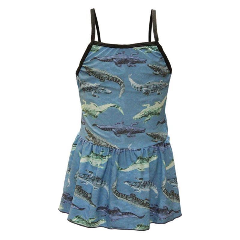 تصویر مایو شنا بچه گانه دخترانه دامن دار طرحدار|آبی