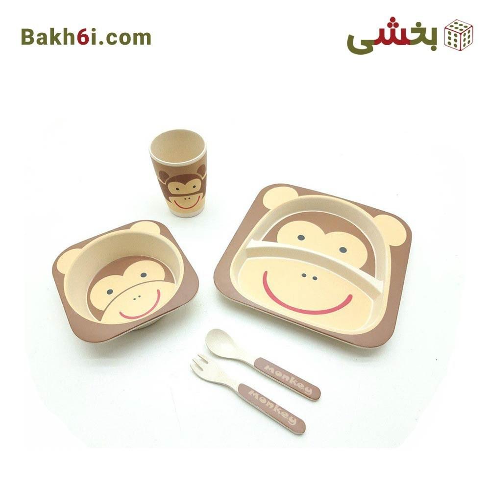 ظرف غذا کودک بامبو طرح زرافه و میمون |