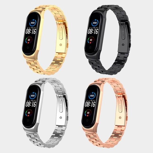 تصویر بند فلزی دستبند سلامتی Mi Band 5 شیائومی Xiaomi Mi Band 5 Metal Strap