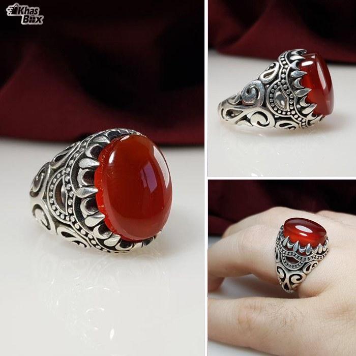 تصویر انگشتر نقره عقیق قرمز اصل مردانه Red agate silver ring