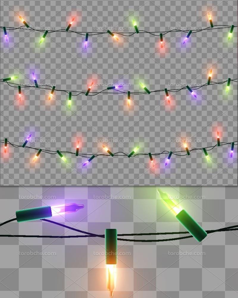 تصویر وکتور ریسه های لامپ رنگی