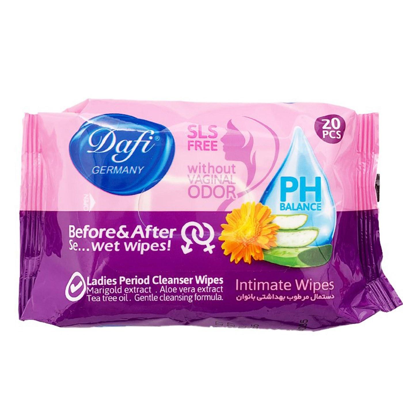 تصویر دستمال مرطوب بهداشتی بانوان بسته 20 عددیدافی ا Dafi Ladies Period Cleanser Wet Wipes 20pcs Dafi Ladies Period Cleanser Wet Wipes 20pcs
