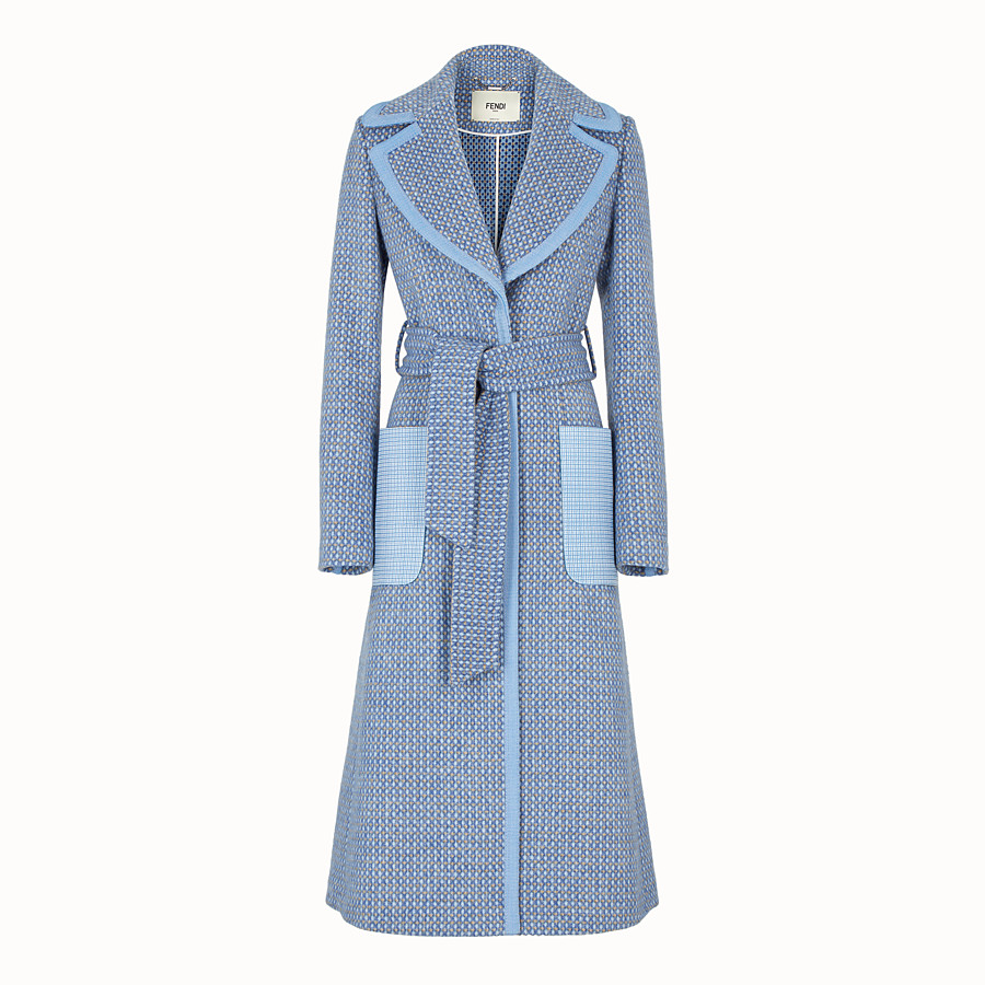 زنانه - پالتو زنانه فندی (ایتالیا) Trenchcoat aus Wolle in Blau