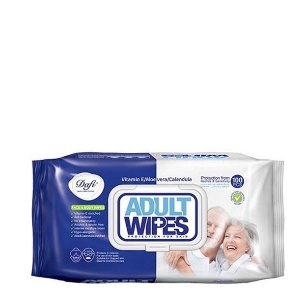تصویر دستمال مرطوب پاک کننده پوست بزرگسالان دافی تعداد 100 برگ ا Dafi Wet Adult Wipes 100 Pcs Dafi Wet Adult Wipes 100 Pcs