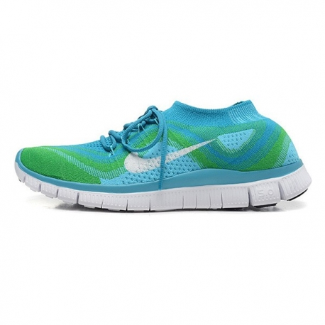 کتانی رانینگ زنانه نایک فری فلای نیت Nike Free Flyknit Blue Green White