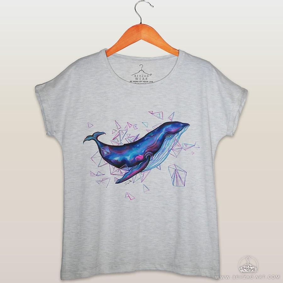 تصویر تیشرت زنانه طرح نهنگ ۵۲ هرتزی