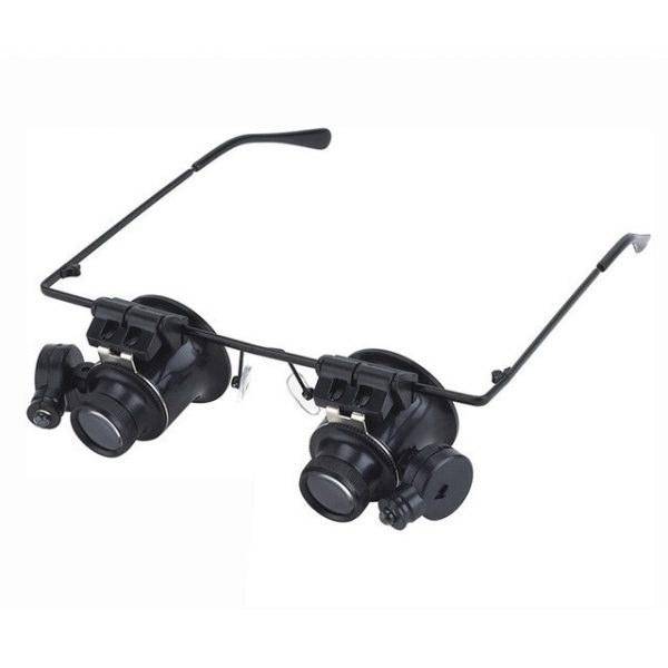 ذره بین عینکی دوچشمی چراغدار 20X بدنه فلزی 9892A |