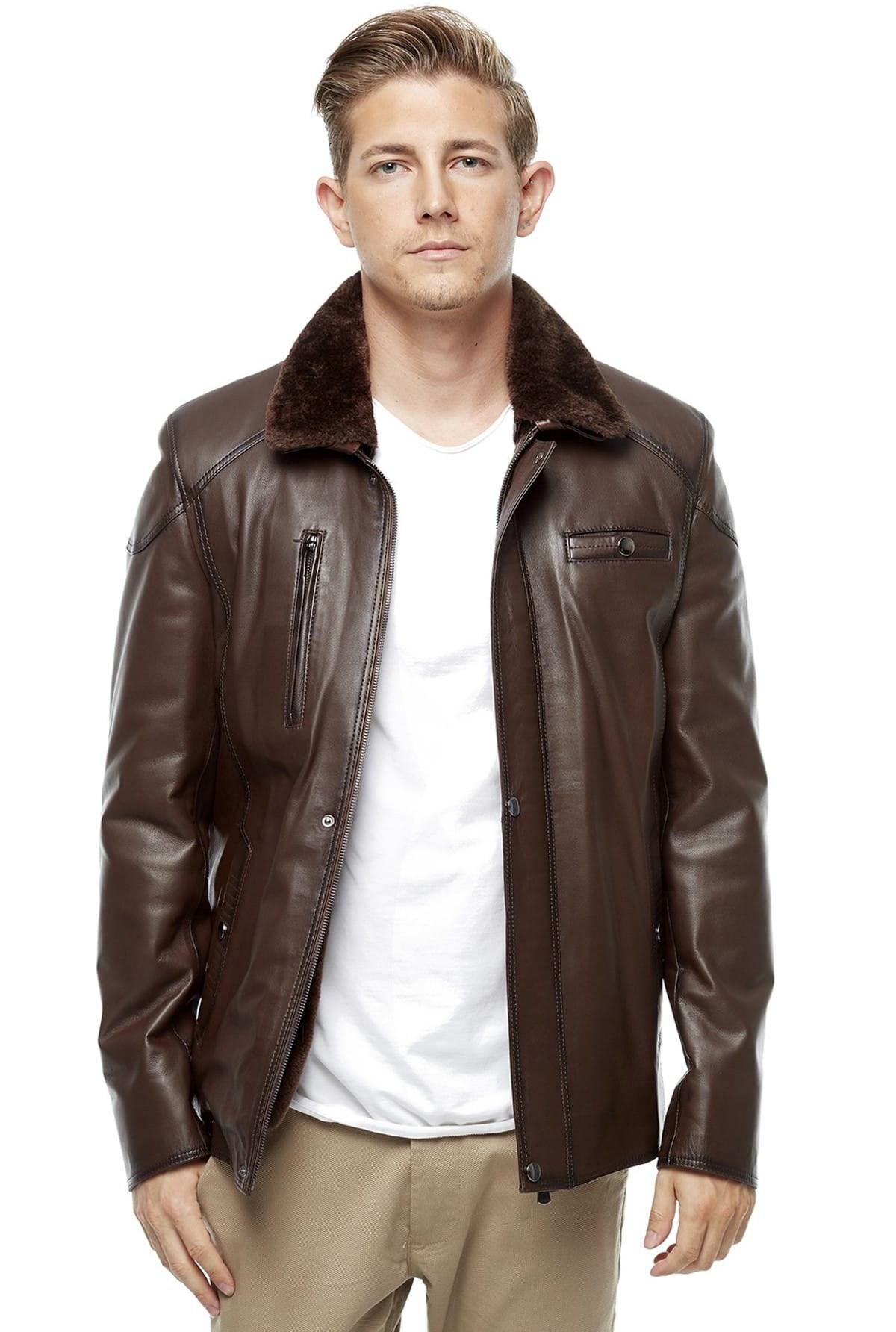 تصویر خرید مستقیم ژاکت چرم جدید Deriza رنگ قهوه ای کد ty4425066