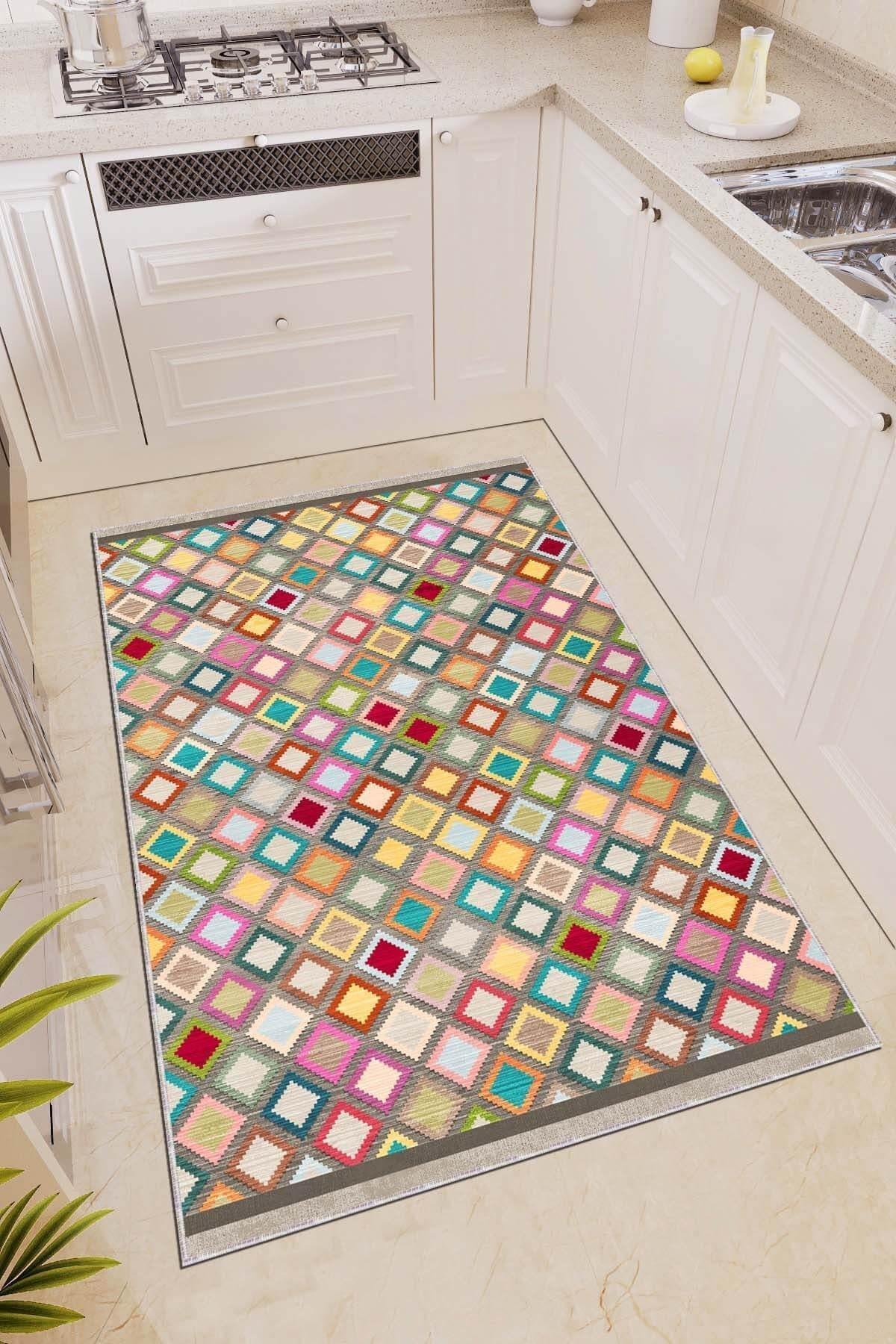 تصویر فرش آشپزخانه مدرن قابل شستشو لژدار لیز نمیخورد برند RugViva کد 1617890144