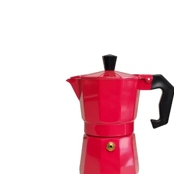 تصویر قهوه ساز موکاپات رنگ قرمز سایز 2 نفره ا Red Mokapot 2 cups Red Mokapot 2 cups