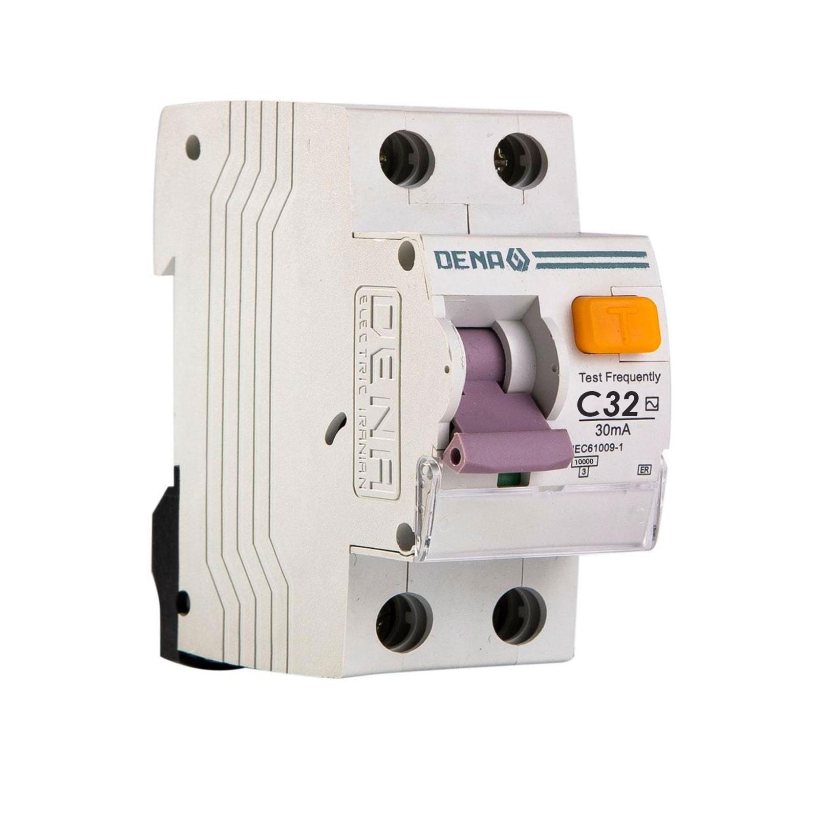 تصویر کلید محافظ جان ترکیبی 32 آمپر الکتریک دنا الکتریک مدل C32-10K ER