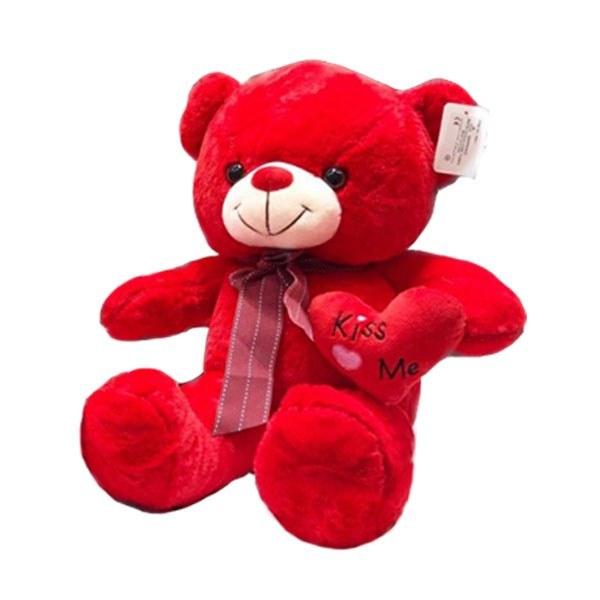 عروسک خرس قرمز قلب به دست