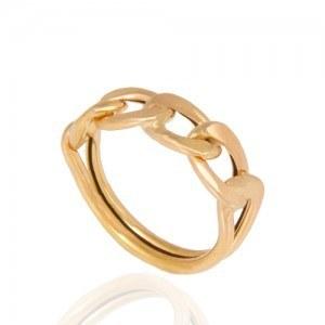 انگشتر طلا زنانه طرح کارتیه کد cr322 | انگشتر زیبا، راحت و سبک با طرح زنجیر کارتیه بر روی انگشتر و رینگ ساده دوبل در قسمت زیر