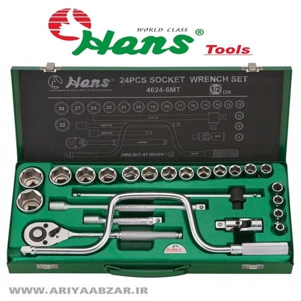 تصویر جعبه بکس 24 پارچه شش پر هنس مدل 4624-6MT ا HANS 24 pcs drives socket wrench set HANS 24 pcs drives socket wrench set
