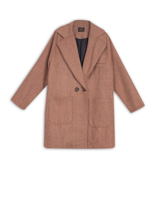 تصویر پالتو جلو جيب دار پشمي طرحدار مدل 230123 مسی serge                     230123-30