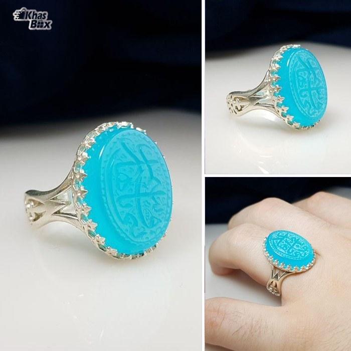 تصویر انگشتر نقره عقیق آبی خطی مردانه Linear blue agate silver ring