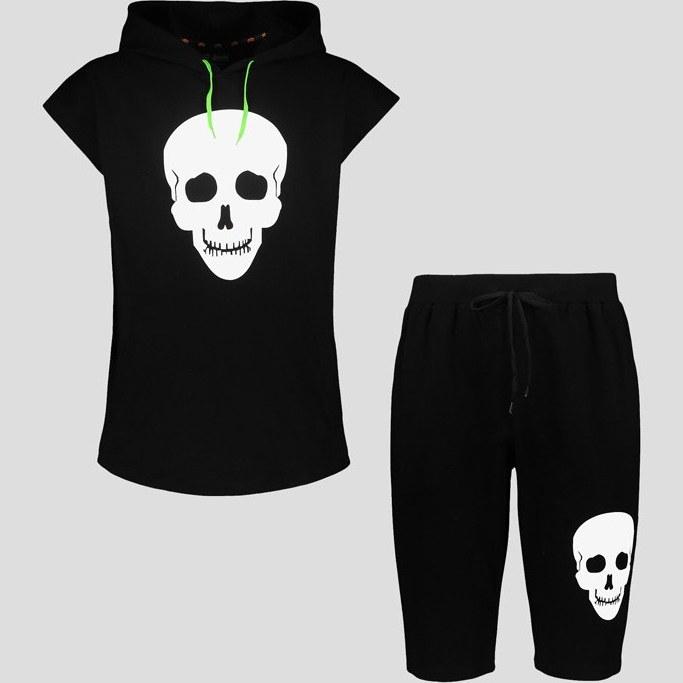 تصویر ست رکابی کلاه دار و شلوارک اسکلتی مدل White Skull کد Nsm592