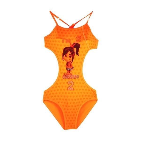 مایو پشت بند دار دخترانه طرح کارتونی نارنجی