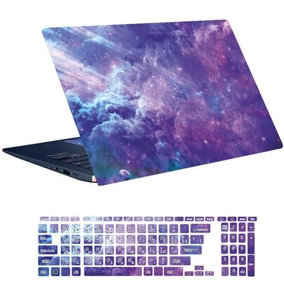 تصویر اسکین لپ تاپ طرح Space کد ۱۱۳ به همراه استیکر کیبورد