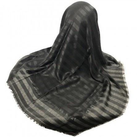 روسری نخی راه راه مشکی ریشه پرزی قواره 140 سانتی متری - 10076  