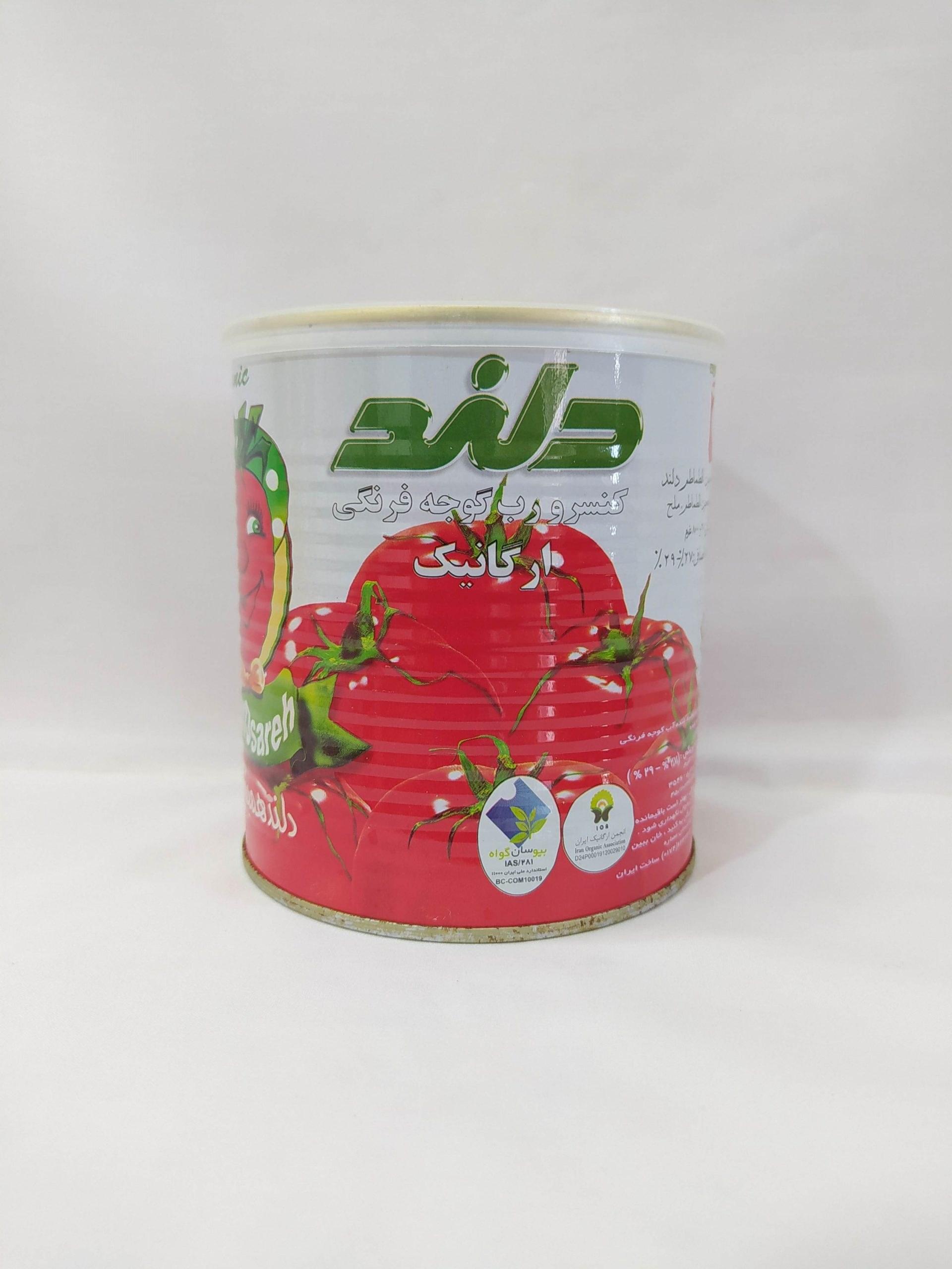 تصویر رب گوجه ارگانیک 800 گرمی دلند