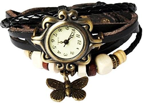 تصویر سبک بوهم [Retro] چرم دست ساز [آویز پروانه] ساعت مچی. دستبند گردنبند زیبا و مدرن [لوکس] و شیک [Weave Around] برای زنان، خانمها، دختران - سیاه ا Bohemian Style [Retro] Handmade Leather [Butterfly Pendant] Wrist Watch. Beautiful, Fashionable [Luxury] & Stylish [Weave Around] Wrap Watch Bracelet for Women, Ladies, Girls- Black Bohemian Style [Retro] Handmade Leather [Butterfly Pendant] Wrist Watch. Beautiful, Fashionable [Luxury] & Stylish [Weave Around] Wrap Watch Bracelet for Women, Ladies, Girls- Black
