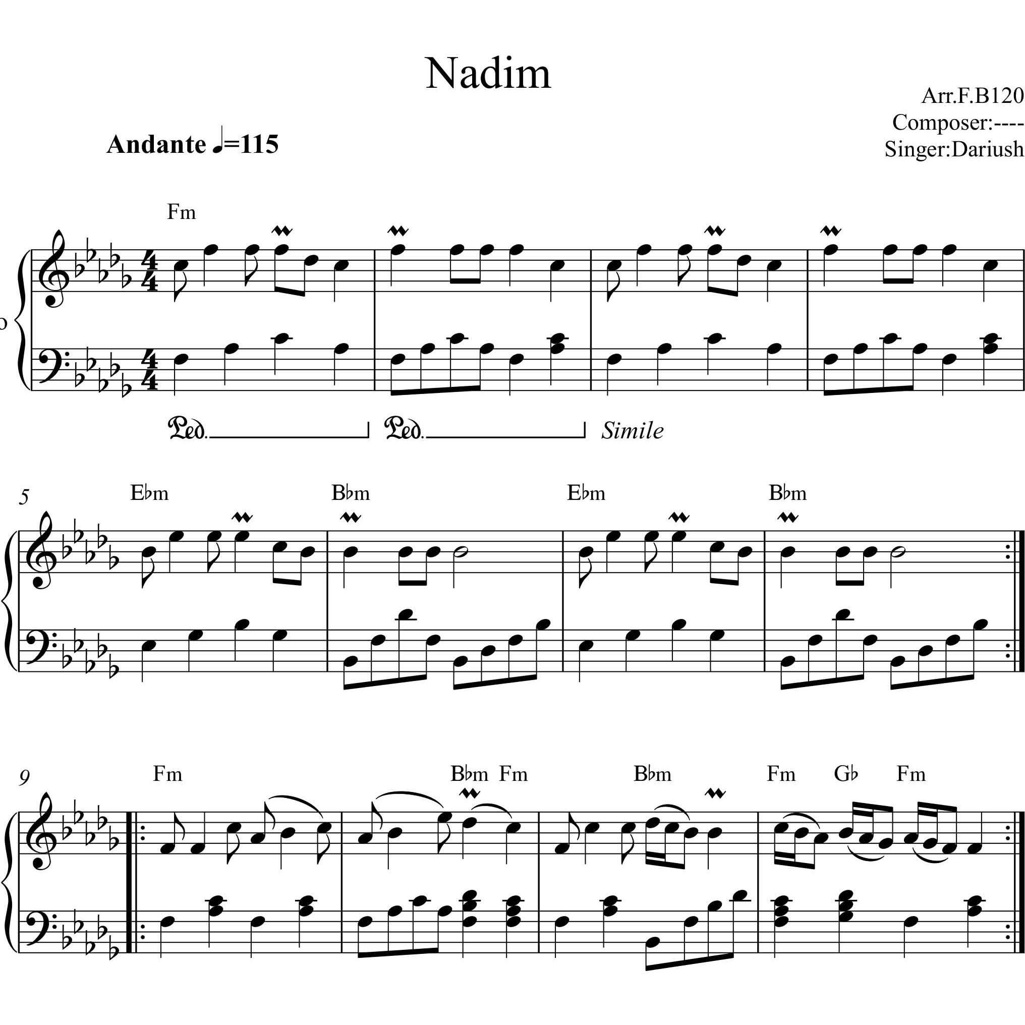 عکس نت پیانو ندیم داریوش به همراه آکورد  نت-پیانو-ندیم-داریوش-به-همراه-اکورد