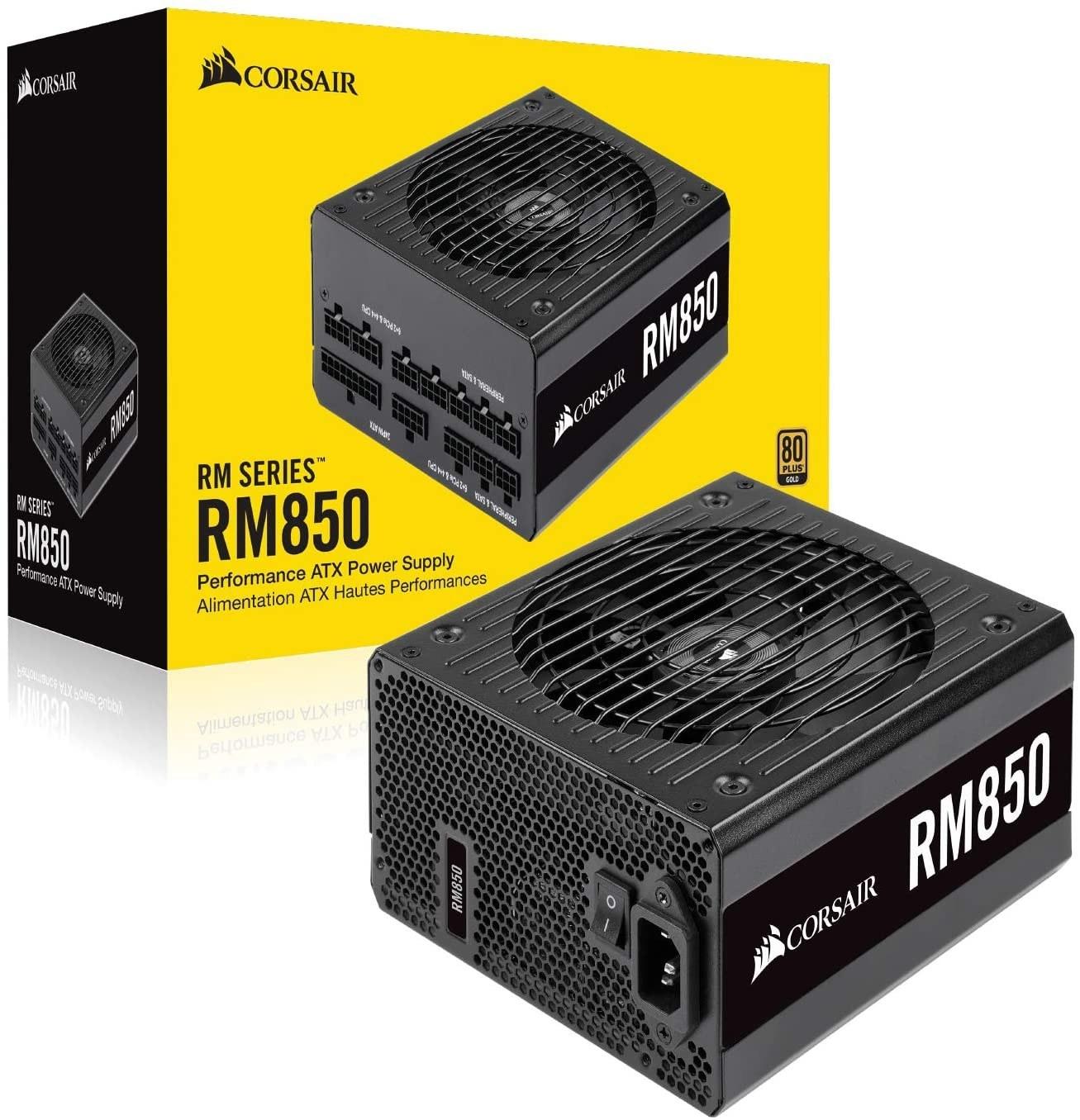 تصویر منبع تغذیه کامپیوتر کورسیر مدل RM850 80 PLUS Gold Fully Modular RM Series RM850 — 850 Watt 80 PLUS® Gold Certified Fully Modular PSU