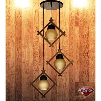 main images لوستر چوبی طرح لوزی 3 شاخه