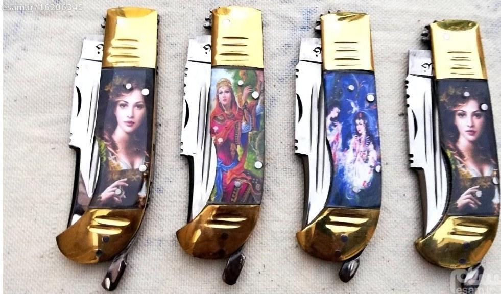 هنر ارزنده دست هنرمندان زنجان(استاد خدایی)، تهیه شده از فولاد فنر | چاقوی 7 دنده ای دست ساز اعلای زنجان،3طرح،18 سانتی