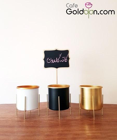خرید گلدان فلزی استوانه به همراه پایه ی فلزی