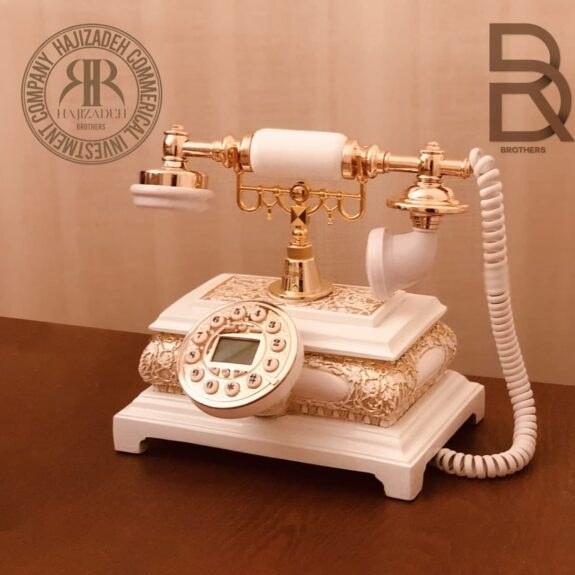تصویر تکنیکال تلفن  رومیزی مستطیل سفید طلایی  T-5116