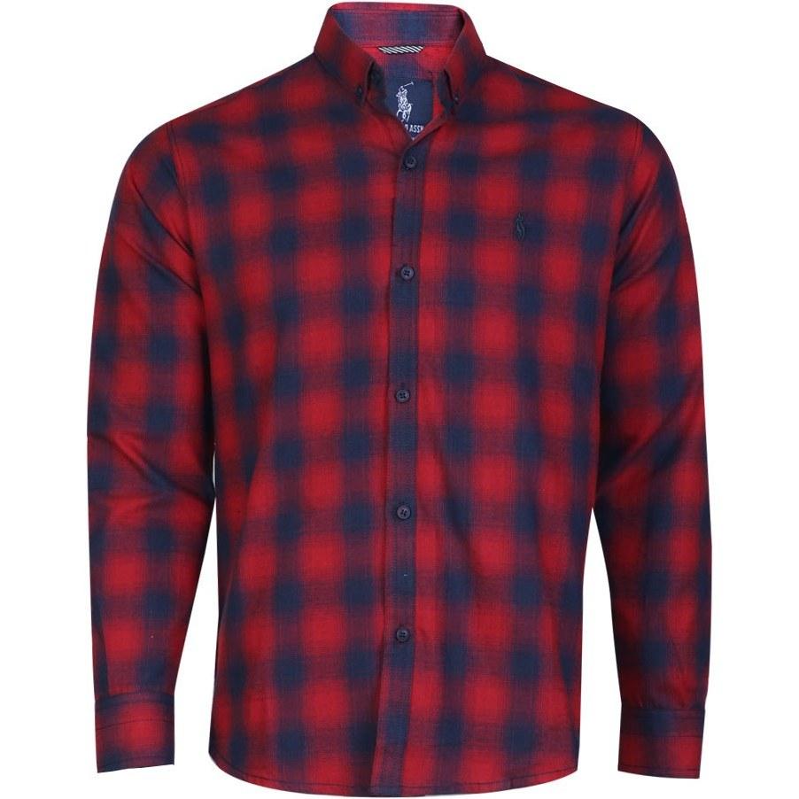 پیراهن مردانه چهارخانه پشمی قرمز آبی پولو