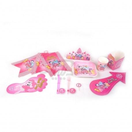 تصویر تم تولد پونی Pony به رنگ صورتی دخترانه در مجموعه های 153 تیکه-318 تیکه-482 تیکه