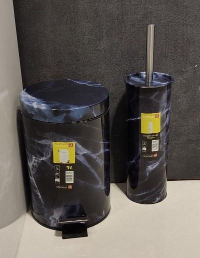 تصویر سطل و برس 3 لیتری در 3 رنگ 518-3 سرمه ای کنتراست