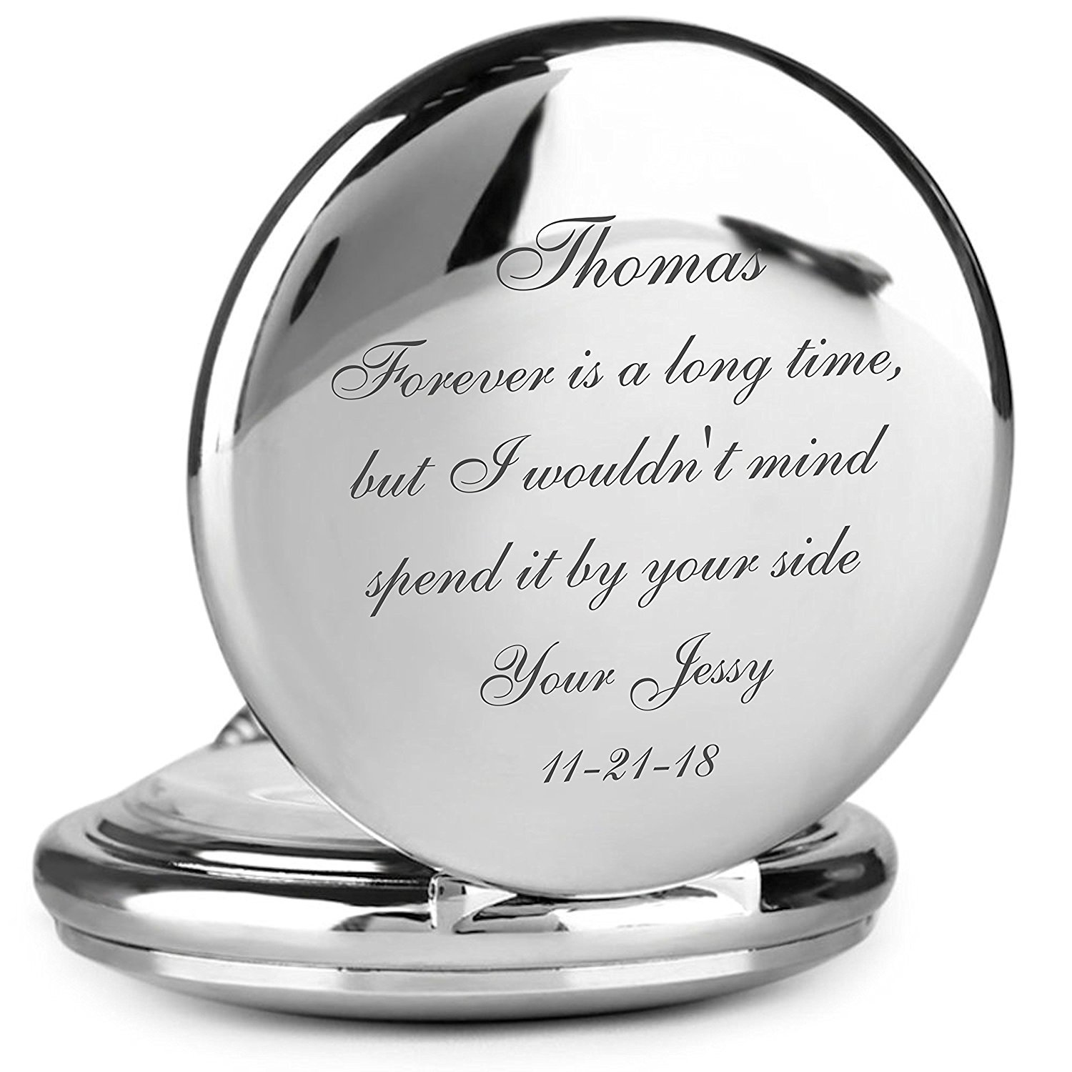 Personalized Silver Stainless Steel Pocket Watch Engraved Free |