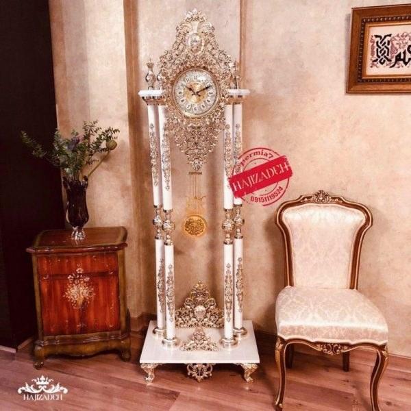 ××× ثانیه سازان ساعت ایستاده 4 ستون طرح تاندوفر ا نتیک سفید ANTIC-WHITE