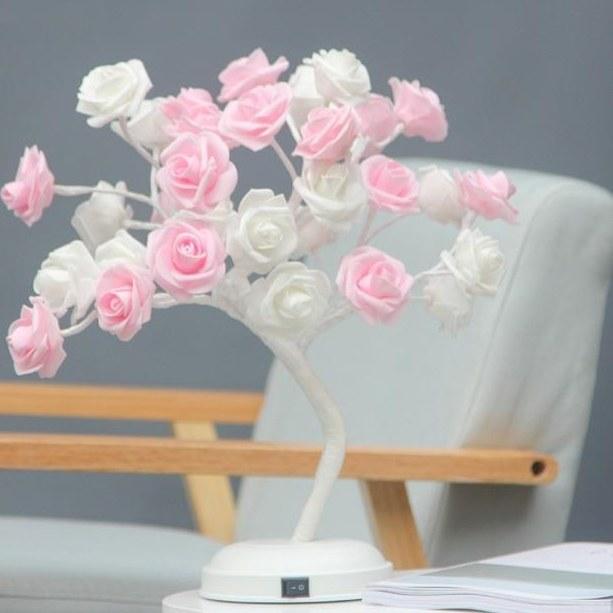 آباژور طرح گل رز سفید صورتی