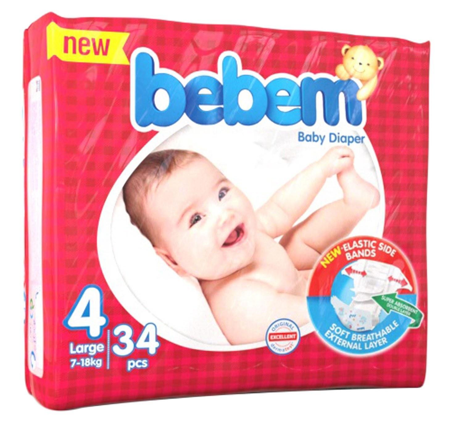 تصویر پوشک سایز 4 ببم - 34 عددی Bebem Size 4 Baby Diaper Pack of 34